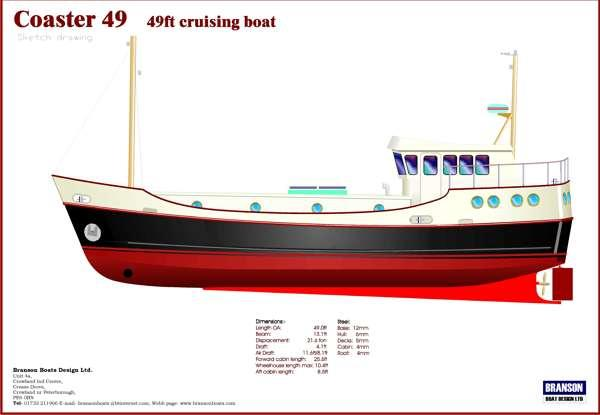 Coaster 49ft motorboat | Branson Boat Design Dutch Barges